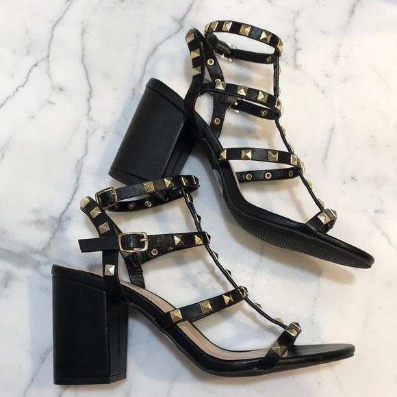 Studded Ankle Strap Heels